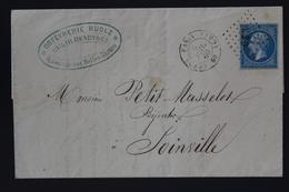 France Cover Yv 14  Cachet  CS 3 Paris Seine  1860. Joinville Cachet Erreur 1850 - Storia Postale