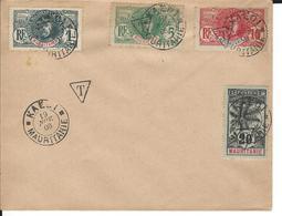 Lettre Du 19/11/1908 Affranchie Avec Timbres Taxe Surchargé D'un T -  N° 1-2-3- Et  1 Sans T - 450.00 € Valeur - Mauritanien (1906-1944)
