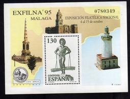 SPAIN ESPAÑA SPAGNA 1995 EXFILNA 05 MALAGA BLOCK SHEET BLOCCO FOGLIETTO BLOC FEUILLET MNH - Blocchi & Foglietti