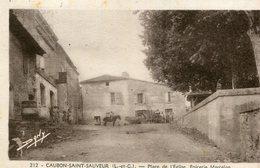 CAUBON SAINT SAUVEUR - Place De L'Eglise Epicerie Marcelon Cavalier Et Attelage De Boeufs - France