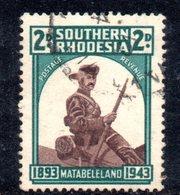 APR919 - RHODESIA SUD SOUTHERN 1943 ,  Gibbons N. 61a Usato  (2380A) RITOCCO Sulla Falda Del Cappello - Rhodesia Del Sud (...-1964)