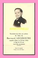 CARTE DE SOUVENIR De Decès De B ;LECOUSTRE En 1952 - Décès