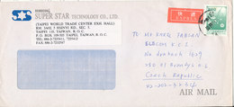 China Taiwan Taipei Express Cover Sent Air Mail To Czechoslovakia 19-11-1991 Single Franked - 1945-... Republic Of China