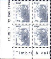 France Coin Daté N° 4565_a ** Marianne De Beaujard Gommé Du TVP écopli Sans Phosphore Sur TD 205  Du 20.05.11 - Coins Datés