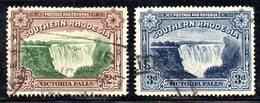 APR2115 - RHODESIA SUD SOUTHERN 1935 1938 ,  Victoria I Due Valori Dent 14 Yvert N. 35+53  Usati  (2380A) - Rhodesia Del Sud (...-1964)