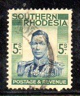 APR2118 - RHODESIA SUD SOUTHERN 1938 , 5 Sh  Yvert N. 52  Usato  (2380A) - Rhodesia Del Sud (...-1964)