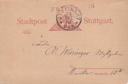 Allemagne Entier Postal Poste Privée Stuttgart 1890 - Ganzsachen