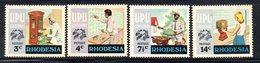 APR2125 - RHODESIA 1974 , Serie  Yvert N. 249/252  ***  MNH  (2380A)  UPU - Rhodesia (1964-1980)