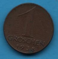 AUSTRIA ÖSTERREICH 1 GROSCHEN 1938  KM# 2836 - Autriche