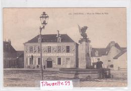 """23-BOUSSAC- Place De L'HÔTEL De VILLE- -""""HÔTEL Du COMMERCE""""- FONTAINE- Edit. A. De NUSSAC-Ecrite- Juillet 1905-3 Cachets - Boussac"""