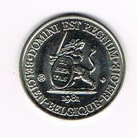 // PENNING  DOMINI EST REGNUM  REGNUM BELGICALE  OOST VLAANDEREN 1981 - 3.000 EX. - Souvenirmunten (elongated Coins)