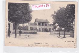 23-BOUSSAC- La GARE- ATTELAGES-ANIMATION- Edit. AUTIXIER URBAIN BOUSSAC-Dos Précurseur-CIRCULEE-Timbrée-Nov. 1904 - Boussac