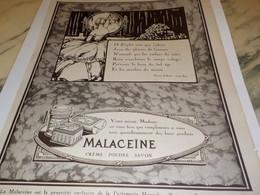 ANCIENNE PUBLICITE VOTRE MIROIR CREME MALACEINE 1925 - Perfume & Beauty