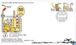 Sri Lanka Stamps 2019, Ceylon Petroleum Corporation, Oil Refinery, Special Commemorative Cover - Sri Lanka (Ceylon) (1948-...)