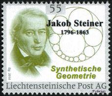 """STEINER, J. - Synthetic Geometry - Liechtenstein 2014, MNH ** - Mathematics,  Mathematician, Mathematicien - """"die Marke"""" - Wissenschaften"""