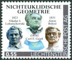 """GAUSS, C.F., LOBATSCHEWSKI, N., BOLYAI, J. - Liechtenstein 2014, MNH ** - Mathematics -  Non-Euclidean Geometry - """"die M - Wissenschaften"""