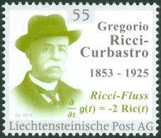 """RICCI-CURBASTRO, G. - Liechtenstein 2014, MNH ** - Mathematician, Mathematics, Ricci Flow - """"die Marke"""" - Wissenschaften"""