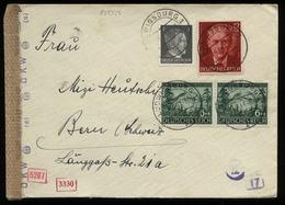 3. Reich - DR Rosegger MiF Auf Briefumschlag Mit OKW Zensur: Gebraucht Ludwigsburg - Bern 1943 , Bedarfserhaltung. - Briefe U. Dokumente