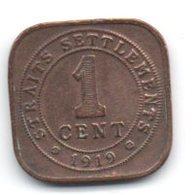 Straits Settlements 1 Cent 1919 - Malesia