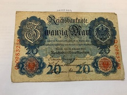 Germany 20 Mark Banknote 1914 - [ 2] 1871-1918 : German Empire