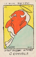 CPA Caricature Satirique Politique Bloc DREYFUS N° 2 L' Apôtre COMBES Tirage Limité Illustrateur A.F. DELAMARRE 2 Scans - Personnages