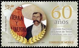 2019 MÉXICO 60 ANIV. COMISIÓN NACIONAL LIBROS  ZAPATA, MNH 60th Anniversary Of The National Commission Of Free Textbooks - Mexico