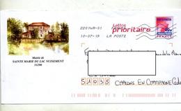 Pap Carte Rouge  Flamme Chiffree Sous Code Illustré Mairie Moulin Sainte Marie Du Lac - Prêts-à-poster:  Autres (1995-...)