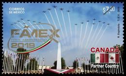 2019 MÉXICO Feria Aeroespacial México 2019, STAMP MNH Aerospace Fair, PLANE, FLAGS CANADA  And MEXICO PARTNER COUNTRY - Mexico