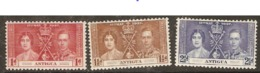 Antigua   1937  SG  95-7  Coronation     Mounted Mint - Antigua Et Barbuda (1981-...)