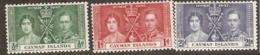 Cayman Islands  1937  SG 112-4  Coronation Mounted Mint - Cayman Islands