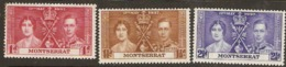 Montserrat  1937   SG  98-100 Coronation    Mounted Mint - Montserrat