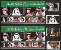 80 Ième Anniversaire De La Reine Elisabeth II.4 Timbres + 2 Bloc-feuillets Neufs **.Côte 35 Euro (Inclus Christchurch) - Tokelau