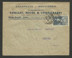 "E,veloppe Commerciale "" Charpente Menuiserie CHOLET NICOL & LONGOBARDI "" à HUSSEIN DAY / Petain 1941 - Algérie (1924-1962)"