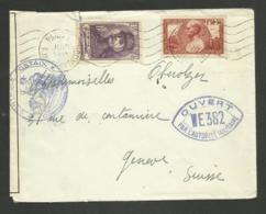 Généraux FOCH & GALLIENI / Lettre >>> SUISSE / PARIS 04.06.1940 / Cachet & Bande De Censure - Marcophilie (Lettres)