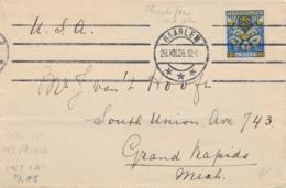 Nederland - 1926 - 15(+3) Cent Kinderzegel 1926 - Enkelfrankering Op Envelop Van Haarlem Naar Grand Rapids / USA - Briefe U. Dokumente