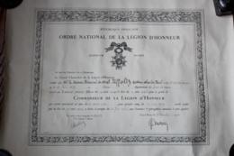 Diplome De  La Legion COMMANDEUR  Medecin Principal 1 Ere Classe 1923 - Diplomas Y Calificaciones Escolares
