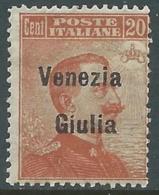 1918-19 VENEZIA GIULIA EFFIGIE 20 CENT MNH ** - RA26 - 8. WW I Occupation