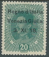 1918 VENEZIA GIULIA EFFIGIE 20 H MH * - RA22-2 - 8. WW I Occupation