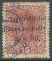 1918 VENEZIA GIULIA USATO EFFIGIE 15 H - RA18-3 - 8. WW I Occupation