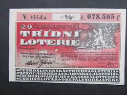 LOS Lotterie Lotterielos 1933 Ceskoslovensko Czechoslovakia  ///  D*39589 - Lotterielose