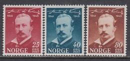 Norway 1949 - Alexander Lange Kielland, Mi-Nr. 340/42, MNH** - Ungebraucht