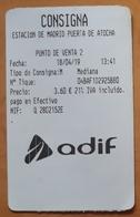 ESPAÑA. TICKET CONSIGNA ESTACIÓN DE MADRID - PUERTA DE ATOCHA. - Trenes