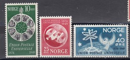 Norway 1949 - 75 Years UPU, Mi-Nr. 344/46, MNH** - Ungebraucht