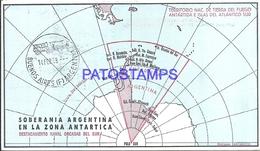 117498 ARGENTINA ANTARTIDA ANTARCTICA DESTACAMENTO NAVAL ORCADAS DEL SUR MAP 1968 CIRCULATED TO BUENOS AIRES POSTCARD - Argentinien