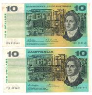 Australia 10 Dollars X2 , P-40c & P-45b , VF+/XF. - Decimal Government Issues 1966-...