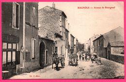 Bagnols Sur Cèze - Cèse - Avenue De Bourgneuf - Café De L'Avenue - Attelage - Animée - Edit. F. BEAU - 1907 - Bagnols-sur-Cèze