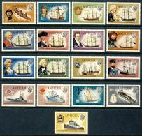 """1970 Antigua MNH OG Complete Set Of 17 Stamps """" Ships, Sailing Vessels"""" Mi # 230-246 Great Set!!! - Antigua Et Barbuda (1981-...)"""