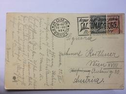 ITALY 1924 Postcard Roma To Wien With `Salsomaggore` Slogan Postmark - Piazza Venezia - 1900-44 Victor Emmanuel III.