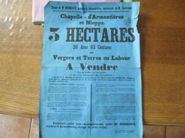 CHAPELLE D'ARMENTIERES ET NIEPPE LE 24 MARS 1868 VENTE DE 3 HECTARES DE VERGERS ET TERRES EN LABOUR 43cm/31cm - Posters
