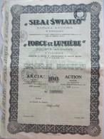 Sila I Swiatlo - Force Et Lumière - Varsovie - Action De 100 Zlotys - Pas Courant - Electricité & Gaz